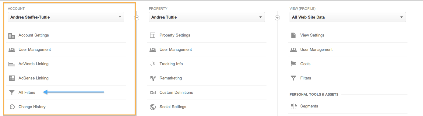 creating filters in google analytics