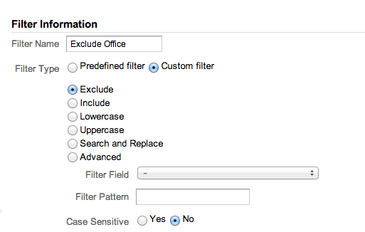 creating an exclude filter