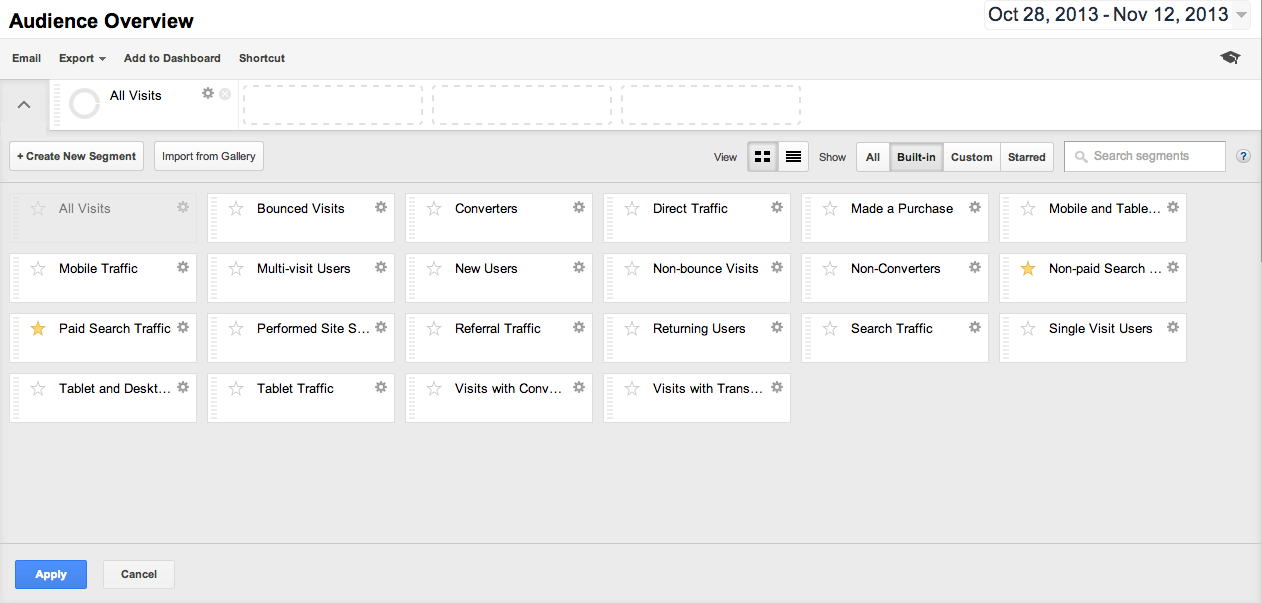 Google Analytics Built-In Segments