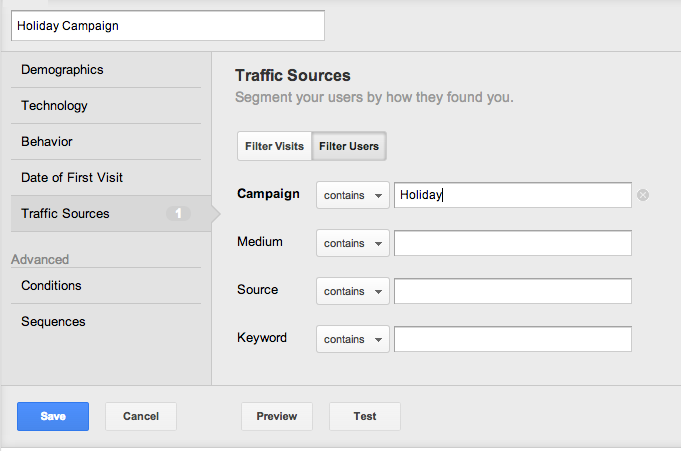 traffic sources segment