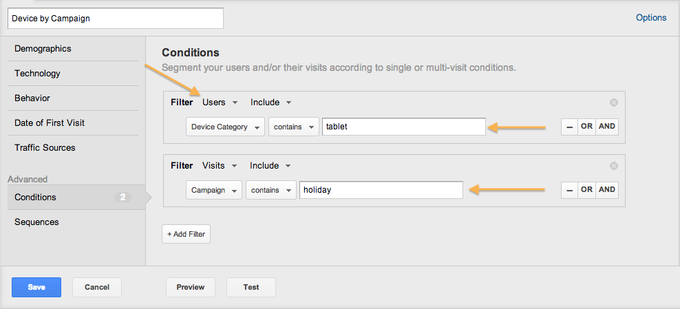 google analytics conditions segment
