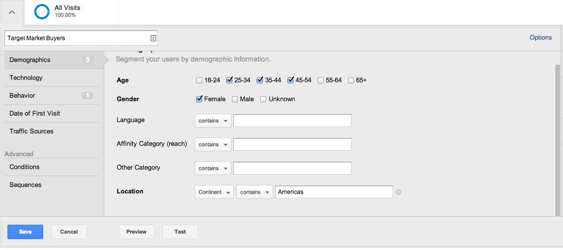 demographic settings in segments
