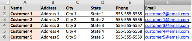 Example Customer Database
